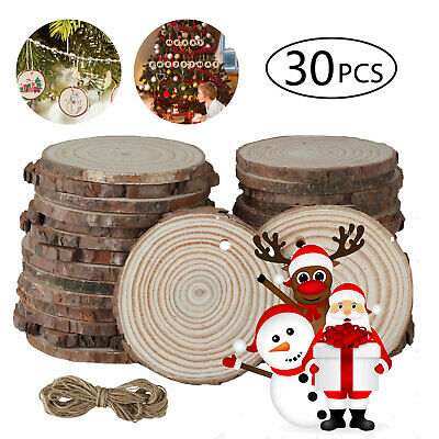 30pc DIY Natural Wood Slices Round Log Discs w/33ft Rope Christmas Tree Ornament