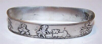 Vintage STERLING SILVER NAPKIN RING DECORATED WITH NURSERY RHYME CHARACTERS