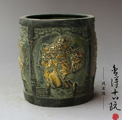 Old Chinese brass hand-carved Merlin bamboo chrysanthemum  Brush Pots