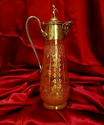 Antique Crystal Gold Etched Silver Wine or Claret Carafe/Decanter Pitcher