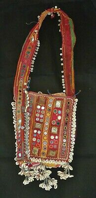 ANTIQUE vintage INDIAN DOWRY SHOULDER BAG Tribal Banjara embroidery Gypsy BOHO