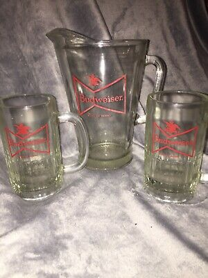 Vintage Budweiser Heavy Glass Beer Pitcher With 2 Mugs Antique Bar Ware Bud Beer