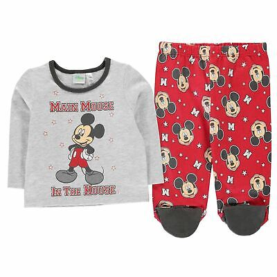 Mickey Mouse 2 Piece Pyjama Set Baby Girls Character Wear Grey/Red Pajamas