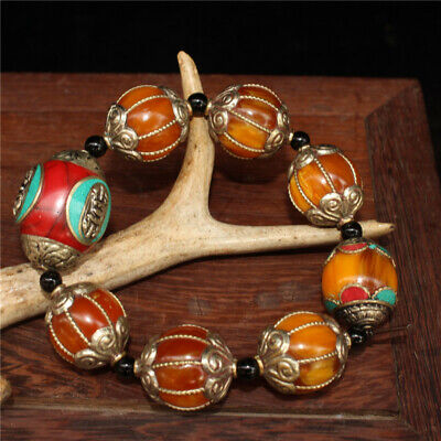 """4.72"""" Chinese Exquisite Red Turquoise Beeswax Handmade beads Bracelet"""