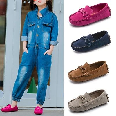 Kids Boys Girls Toddler Oxford Suede Slip On Flat Loafers Casual Shoes Sneakers
