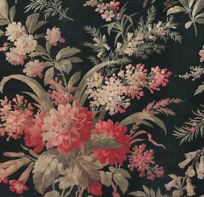 BEAUTIFUL 19th CENTURY FRENCH NAPOLEON III LINEN COTTON, PINK FLORALS  c1870 457