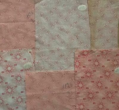 6 Beautiful Vintage French Provencal Cotton Samples, Project Ref 501