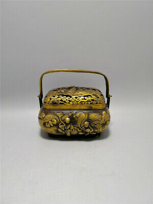"3.94""Exquisite Chinese brass Handmade carving Bat crane Incense burner censer"