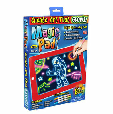 3D Drawing Pad LED Lights Glow Art Sketchpad Developing Toy Magic Board Kid Gift