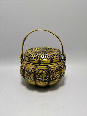 """5.31""""Exquisite Chinese brass Handmade carving Butterfly Incense burner censer 1"""