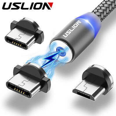 USLION Magnetic Fast Charging USB Cable Type C Micro USB Cell Phone Charger Cord