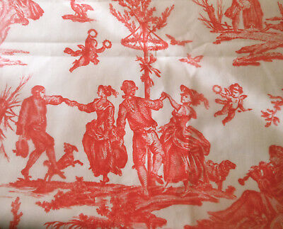 Vintage Persimmon Red French Pastoral Seasons Toile Polished Cotton Fabric ~ BTY