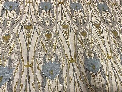 Art Nouveau Scrolls Linen Egg Shell Blue Curtain/Craft /Upholstery Fabric
