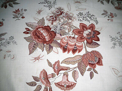 Antique French Indienne Tree of Life Floral Fabric ~Softened Sienna Apricot Gray