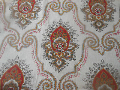 Antique French Indienne Arabesque Medallion Cotton Fabric ~ Red Black Gold ~