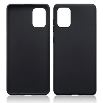 TPU Gel Case / Cover for Samsung Galaxy A71 - Solid Black Matte Finish