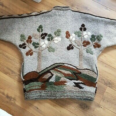 Vintage 1980s Oversized Mohair Tree Landscape Cardigan One Size Lined Unisex