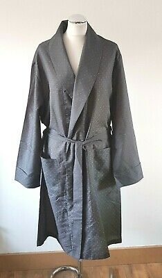 Vintage Grey Paisley Tootal Smoking Jacket Dressing Gown Robe M Mens