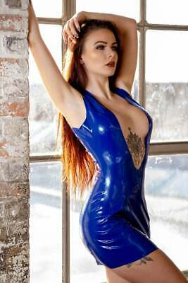 Latex Catsuit Rubber Gummi One Piece Deep V Chest Open Sexy Dress Customize .4mm