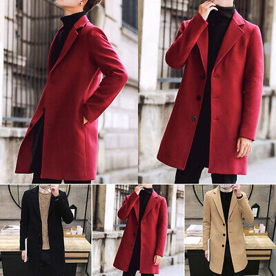 Fashion Men Wool Blend Overcoat Warm Solid Turn-down Collar Single Breasted Coat
