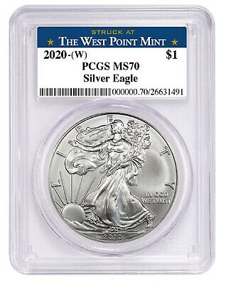 2020 1oz Silver Eagle PCGS MS70 - West Point Label