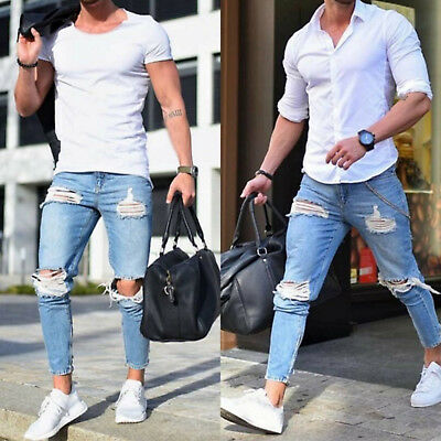 Mens Skinny Super Stretch Fit Ripped Jeans Destroyed Denim Pants Trousers Slim