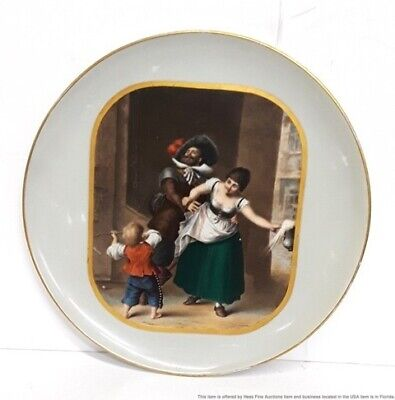 Antique Large 19th Century Dutch Cavalier Gilt Charger Plate Platter Beer Maiden