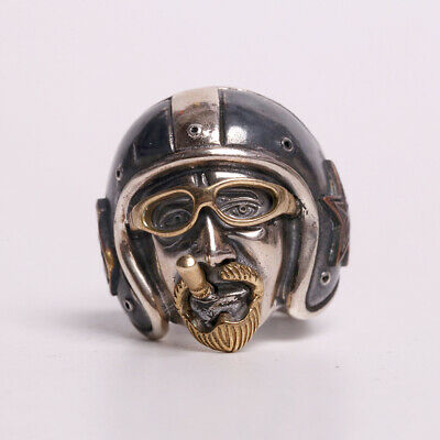Sterling Silver 925 Silver Ring Route 66 Bravo Helmet Sterling Silver Old