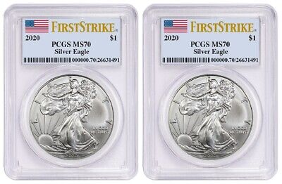 2020 1oz Silver Eagle PCGS MS70 - First Strike Label - 2 Pack