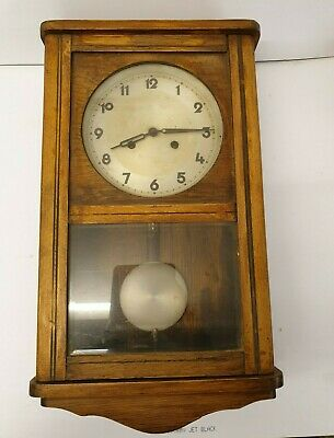 Old Wooden Wall Clock with Pendulum and Glass Front - Not Working - Needs Repair