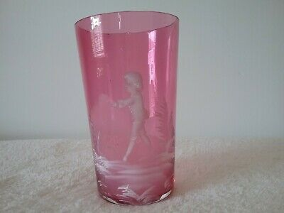 Vintage Antique Mary Gregory glass Cranberry red Boy walking amongst trees