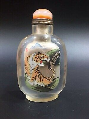 Chinese Antique coloured glaze Hand painted tiger snuff bottle S