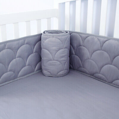 "Baby Crib Bumper Pads for Standard Cribs with Star Pattern Gray 4PCs 52""x28"""