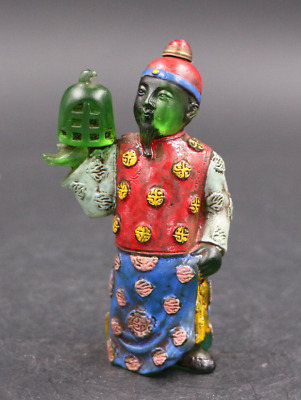 China rare old Coloured glaze Qing Dynasty officials modeling snuff bottle 02