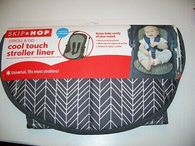 SKIP HOP new Stroll & Go Cool Touch Stroller Liner~Gray Feather~NEW~washable~