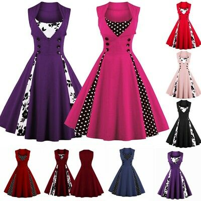 Womens Retro 1950s Style Swing Dress Rockabilly Evening Party Cocktail Size 6-18