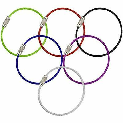 6PCS Stainless Steel Wire Keychain Cable Key Ring Chain Outdoor Hiking Style Hot