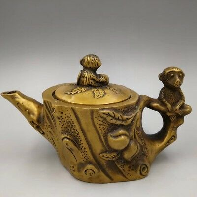 Chinese Antique Brass Casting Monkey Stump Teapot flagon Xuande Year