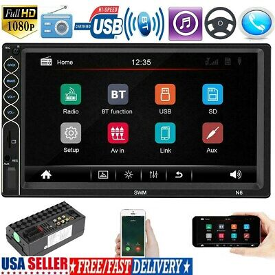 Double 2DIN 7'' Android Car Stereo GPS Navi MP5 Player Bluetooth FM Radio US'