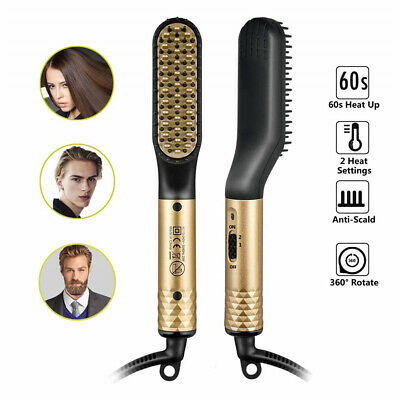AU New Men's Electric Beard Straightening Heated Hair Comb Brush Styler Gift