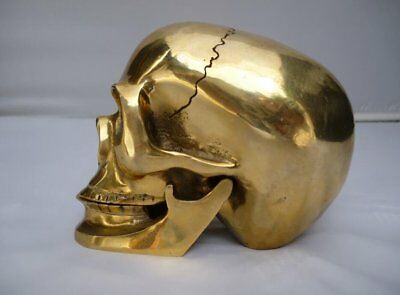 Old Chinese Brass Crafted Human Skull Skeleton human head Statue Sculpture
