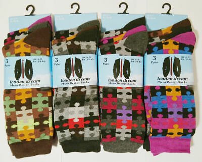3 New Pairs Mens Jigsaw Pieces Multi Colour Everyday Socks Size 6-11
