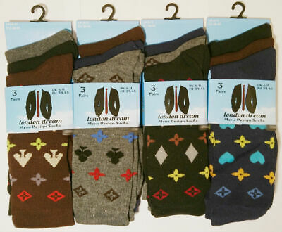 6 New Pairs Mens Mixed Jigsaw Pieces Multi Colour Everyday Socks Size 6-11
