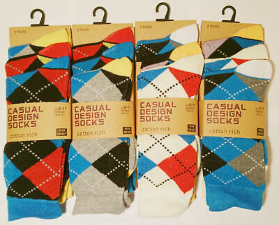 3 Pairs Mens Diamond Multi Coloured Everyday Smart Casual Socks Size 6-11
