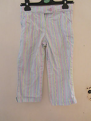 Girls Next Multicoloured Cropped Cotton Trousers - 7 years - adjustable waist