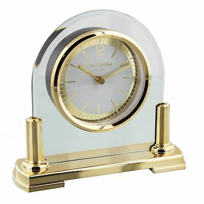 Contemporary Arched Glass Mantel Table Clock Gold Stand & Bezel