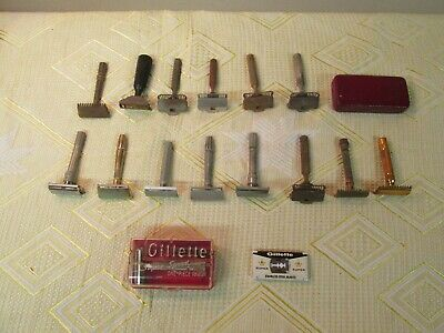 Large Lot Of 15 Safety Razors 5 Gillette 1 Star 7 Gem 1 Ever-Ready & 1 Unmarked