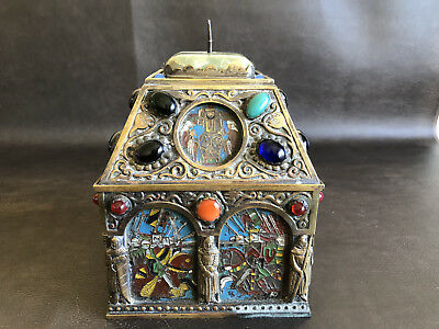 RARE Antique Alfred Daguet War Painted Repousse Brass Copper Casket Box Chest