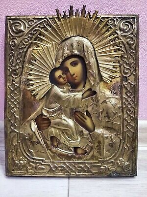 "Large Antique Orthodox Russian Hand Painted Wood & Metal"" Icon Mother of God"""