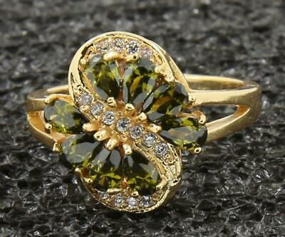 2.35 Ct Natural Peridot & Diamond Solid 14Kt Yellow Gold Ladies Rings Size7.0